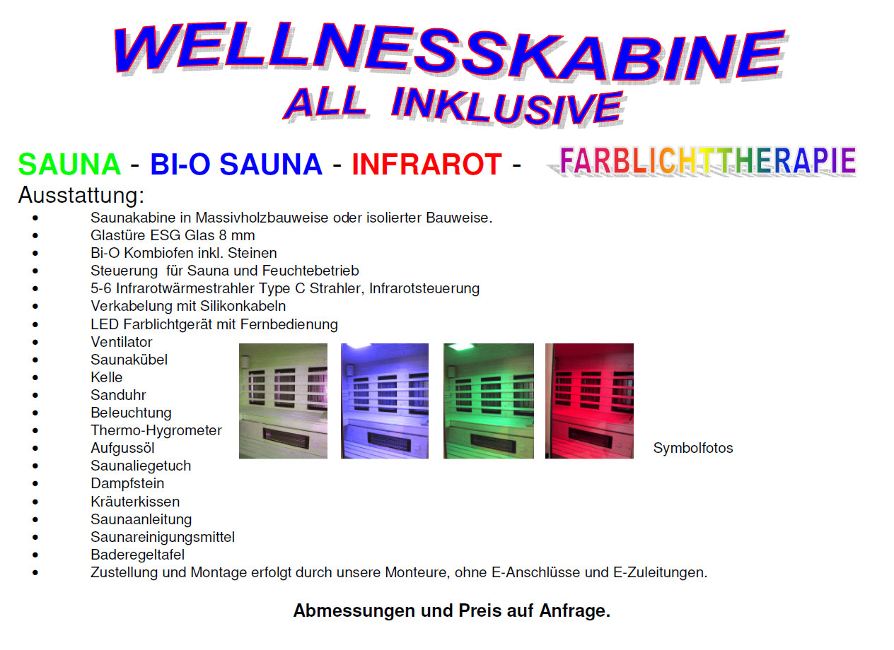 wellness-sauna angebot